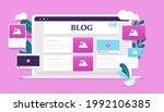 blog computer   laptop with...   Shutterstock .eps vector #1992106385