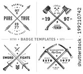 Vector retro anchor badge template set. Easy to edit, all pieces are separated.   - stock vector