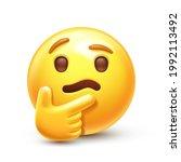 thinking emoji. chin thumb... | Shutterstock .eps vector #1992113492