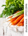 Fresh organic kitchen garden carrots with scallion and parsley on vintage wooden plate close-up. - stock photo