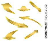 golden arrows set on the white. ... | Shutterstock .eps vector #199212212