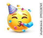 partying emoji. emoticon with... | Shutterstock .eps vector #1992128765