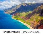 Aerial View Of Kauai's Rugged N ...