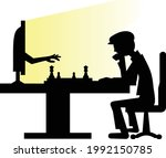 man playing chess with computer ...   Shutterstock .eps vector #1992150785