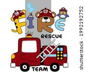 fire rescue  team funny animal...   Shutterstock .eps vector #1992192752