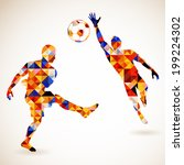 silhouette soccer player and... | Shutterstock . vector #199224302