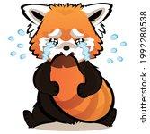 Red Panda Sobbing Flat Style...