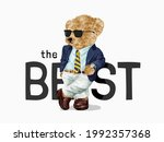 the best slogan with bear doll... | Shutterstock .eps vector #1992357368