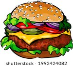 cartoon tasty big hamburger... | Shutterstock .eps vector #1992424082