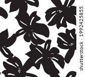 black and white floral brush...   Shutterstock .eps vector #1992425855