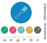 single fork flat white icons on ... | Shutterstock .eps vector #1992426812