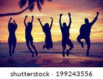 young people jumping with... | Shutterstock . vector #199243556
