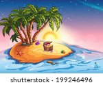 illustration island with palm... | Shutterstock .eps vector #199246496