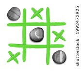 hand drawn tic tac toe game...   Shutterstock .eps vector #1992472925