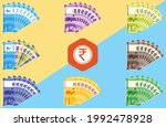 fan shaped stack of indian...   Shutterstock .eps vector #1992478928