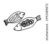 doodle hand drawn fish dish... | Shutterstock .eps vector #1992489872