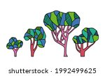 surreal trees. bright coloured... | Shutterstock .eps vector #1992499625