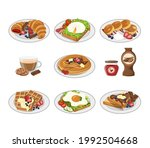 a set of colorful breakfasts ... | Shutterstock .eps vector #1992504668