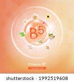 vitamin b5  orange pill capsule.... | Shutterstock .eps vector #1992519608