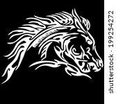 tribal horse tattoo on black... | Shutterstock .eps vector #199254272