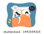 married couple in bed at night. ... | Shutterstock .eps vector #1992559325