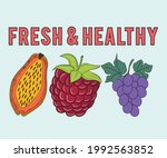 fresh and healthy fruit print... | Shutterstock .eps vector #1992563852