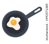 flat icon of fried eggs in a... | Shutterstock .eps vector #1992571385