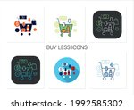 buy less icons set.basket with... | Shutterstock .eps vector #1992585302