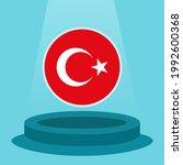 flag of turkey on the podium.... | Shutterstock .eps vector #1992600368