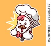 cute chicken chef with brown... | Shutterstock .eps vector #1992601592
