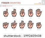 finger counting hand icon set... | Shutterstock .eps vector #1992605438