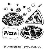 pizza set  vector on... | Shutterstock .eps vector #1992608702