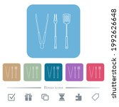 barbecue tools  tongs fork and... | Shutterstock .eps vector #1992626648