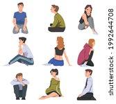set of people sitting on floor... | Shutterstock .eps vector #1992644708