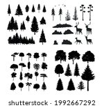 illustration with high pines in ... | Shutterstock .eps vector #1992667292