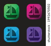 boat four color glass button... | Shutterstock .eps vector #1992670502