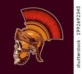 skull in a gladiator's helmet... | Shutterstock .eps vector #1992692345