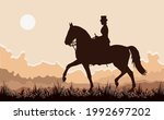 young woman in a woman's saddle ... | Shutterstock .eps vector #1992697202
