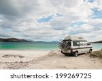 Camper van parked on a beach in the Isle of Lewis, Outer Hebrides, Scotland, UK. - stock photo