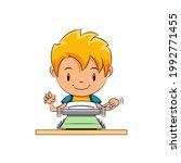 kid writing on typewriter ... | Shutterstock .eps vector #1992771455