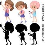 set of a girl cartoon character ... | Shutterstock .eps vector #1992818588
