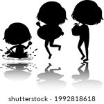 set of kids silhouette with... | Shutterstock .eps vector #1992818618