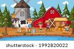 farm scene with many kids... | Shutterstock .eps vector #1992820022
