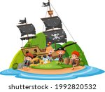 pirate ship on island with many ... | Shutterstock .eps vector #1992820532
