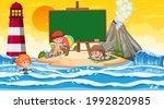 empty banner template with kids ... | Shutterstock .eps vector #1992820985