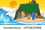 empty banner template with kids ... | Shutterstock .eps vector #1992820988
