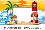 empty banner template with kids ... | Shutterstock .eps vector #1992821012
