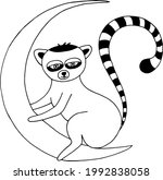 lemur sitting on the moon icon. ... | Shutterstock .eps vector #1992838058