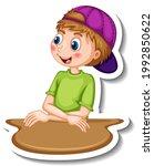 sticker template with a boy... | Shutterstock .eps vector #1992850622
