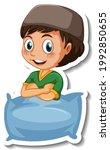 a sticker template with muslim... | Shutterstock .eps vector #1992850655